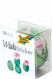 folia 26504  naklejki washi, kaktusy, wstępnie wytłoczone formy z papieru ryżowego, 200 sztuk na rolce  idealne do ozdabiania i dekoracji