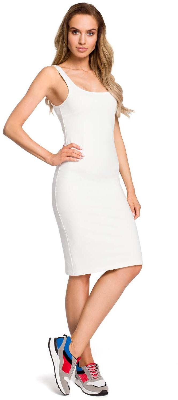 Ołówkowa sukienka na ramiączkach - ecru