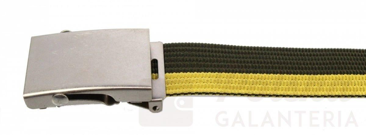 Pasek Parciany TRK (PL) Bawełniany PARCIAK 40 mm Z Klamrą Z Rolką Żółto-zielony Szeroki TRA21