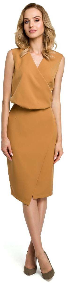 Cynamonowa wizytowa sukienka kopertowa bez rękawów