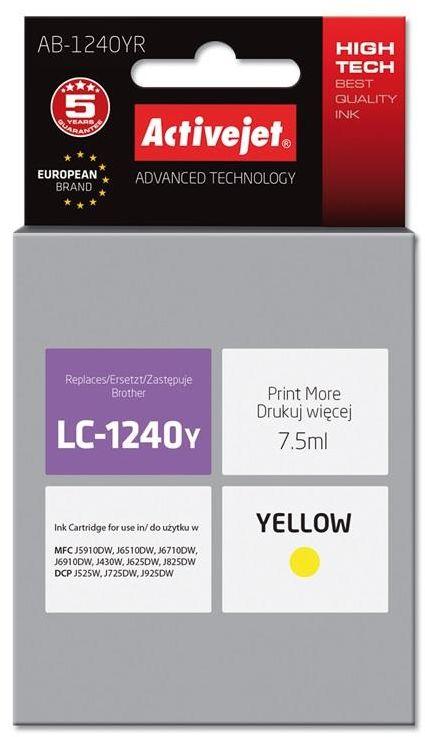 Tusz Activejet AB-1240YR (zamiennik Brother LC1240Y/1220Y; Premium; 7.5 ml; żółty)