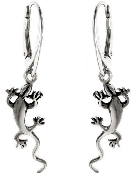 Delikatne wiszące srebrne kolczyki jaszczurki gekon srebro 925 K1789