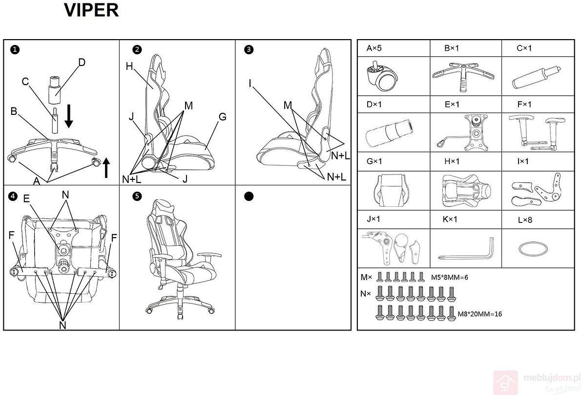 KUPON 10% NA STRONIE  Fotel gamingowy VIPER Signal Czarno-niebieski