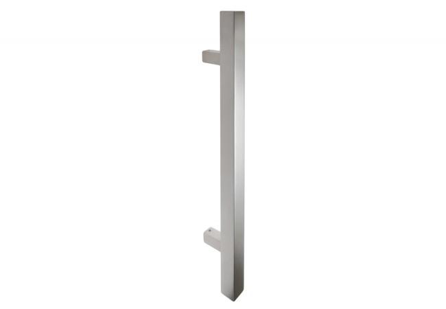 Pochwyt drzwiowy jednostronny (90 stopni) L=650 mm, X=450 mm, stal nierdzewna kwadratowy bez śrub łączących uchwyt