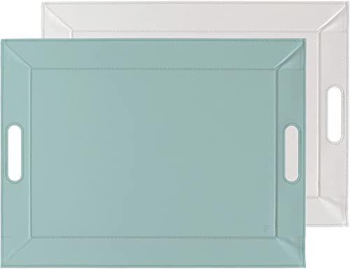 FREEFORM DUO - 2 w 1 dwustronna taca i zestaw stołowy, miętowy/szary, sztuczna skóra, wymiary: 55 x 41 cm