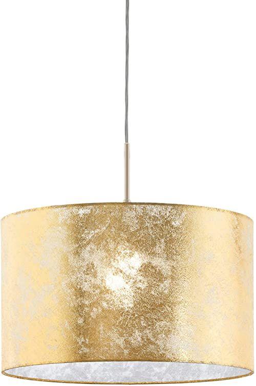 EGLO Lampa wisząca Viserbella, 1 lampa wisząca w stylu vintage, lampa wisząca ze stali i tkaniny w kolorze szampańskim, złota, lampa na stół do jadalni, lampa do salonu z oprawką E27, Ø 38 cm
