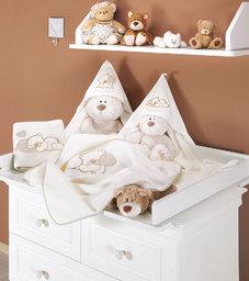MAMO-TATO Kocyk Polarowy Miś z serduszkiem w brązie