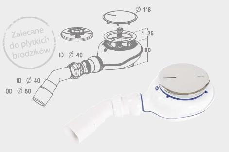 Radaway Turboflow 2 syfon z odpływem  90 chrom TB21