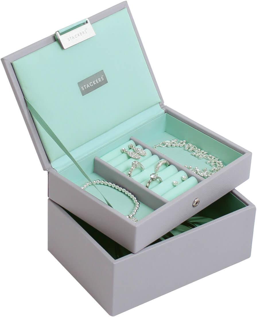 Pudełko na biżuterię 2-poziomowe (miętowe) Mini Classic Stackers