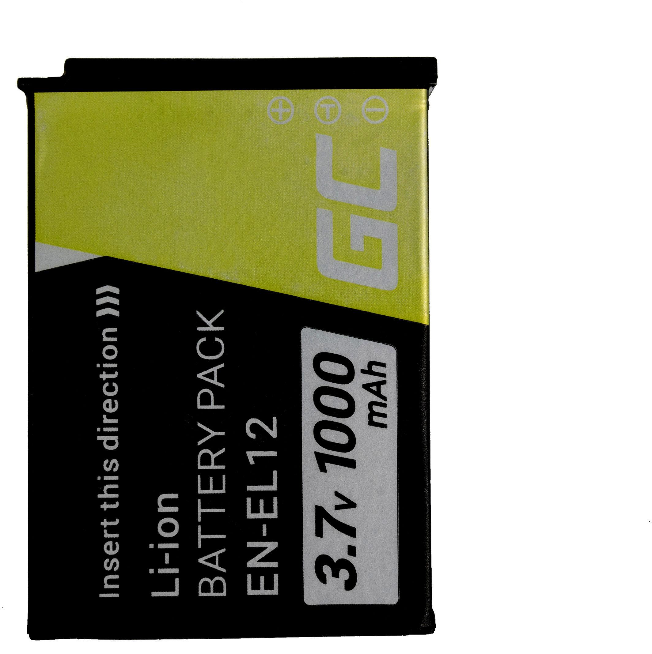 Akumulator Bateria Green Cell  EN-EL12 do Nikon Coolpix A900 AW100 AW120 AW130 P300 W300 S6200 S6300 S9100 S9300 3.7V 1000mAh