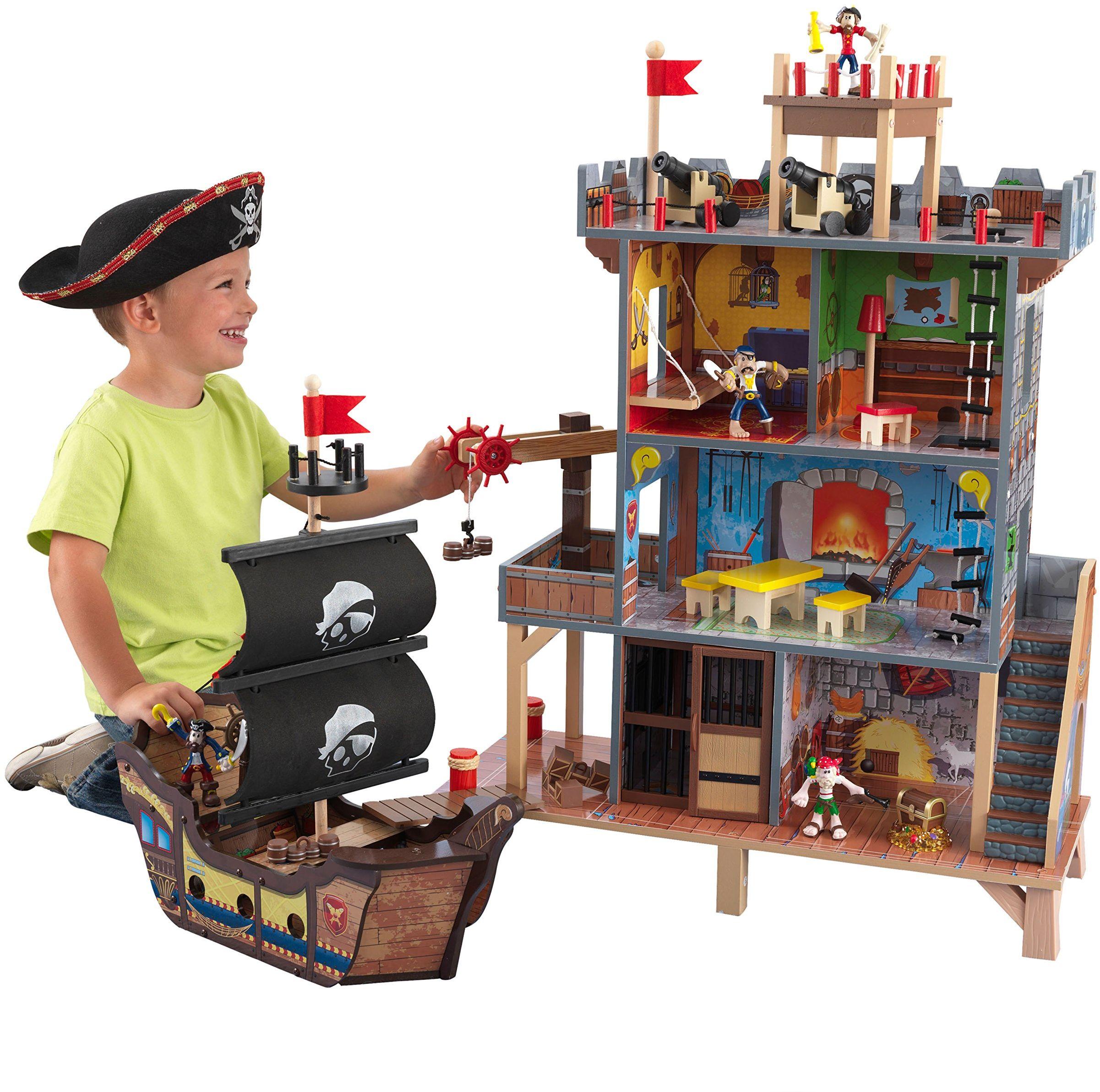 KidKraft 63284 drewniany zestaw do zabawy dla dzieci ze statkiem pirackim i figurkami w zestawie