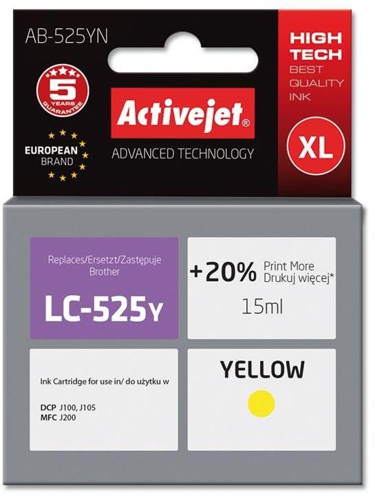Tusz Activejet AB-525YN (zamiennik Brother LC525Y; Supreme; 15 ml; żółty)