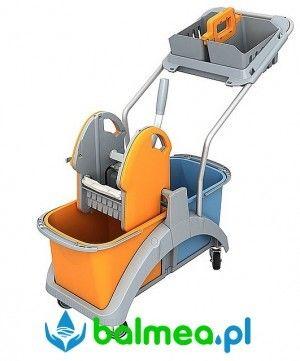 Wózek do sprzątania Splast TS2-0009 dwuwiadrowy z koszykiem hotelowym
