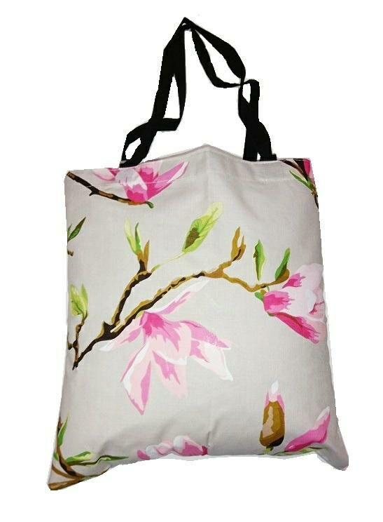 Torba bawełniana na zakupy 37x38 Magnolia różowa na beżowym tle kwiaty 3155