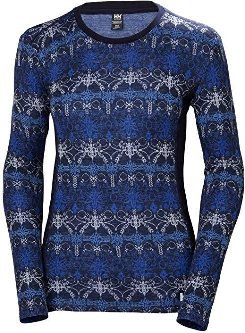 Hellyhansen damska bluza z kapturem Merino Mid Graphic Blue, granatowa/Frost, XS