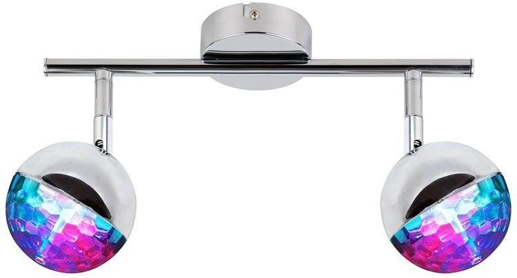 Lampa sufitowa PARTY listwa 2x3W LED RGB, główka okrągła 1E z przegubem KD SYSTEM, chrom, 92-67760