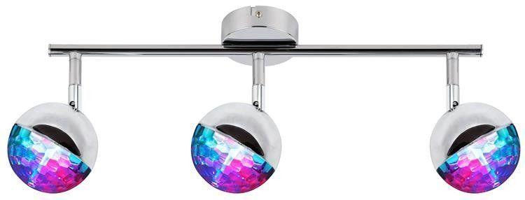 Lampa sufitowa PARTY listwa 3x3W LED RGB, główka okrągła 1E z przegubem KD SYSTEM, chrom, 93-67777
