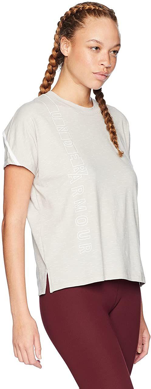 Under Armour damska Lighter Longer Ssc Graphic Wm koszulka z krótkim rękawem Ghost Grey/White S