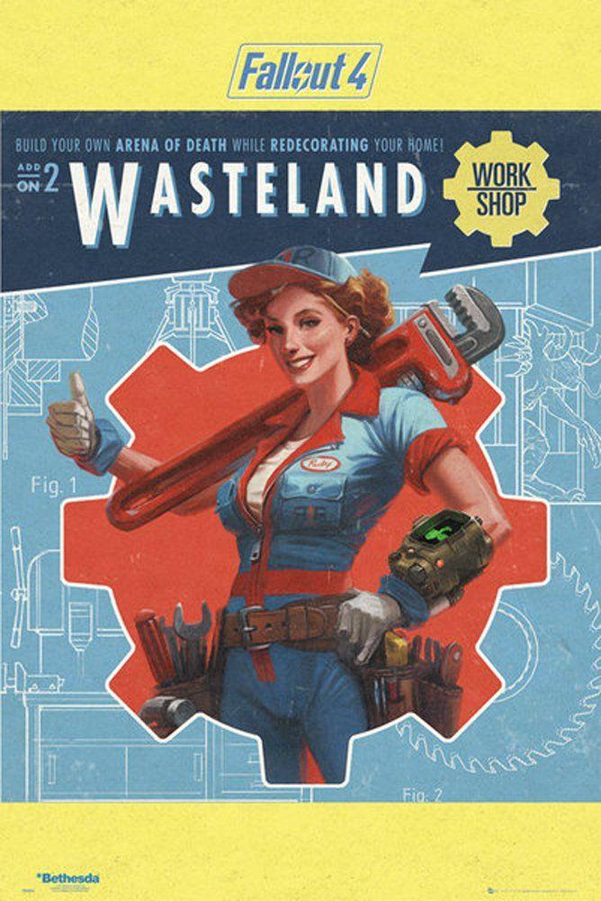 empireposter Fallout 4-Wasteland-Game gra wideo plakat rozmiar drukowany 61 x 91,5 cm, papier, kolorowy, 91,5 x 61 x 0,14 cm