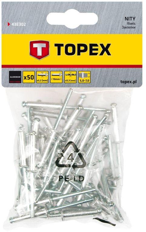 Nity aluminiowe 3.2 mm x 10 mm 50 szt. 43E302