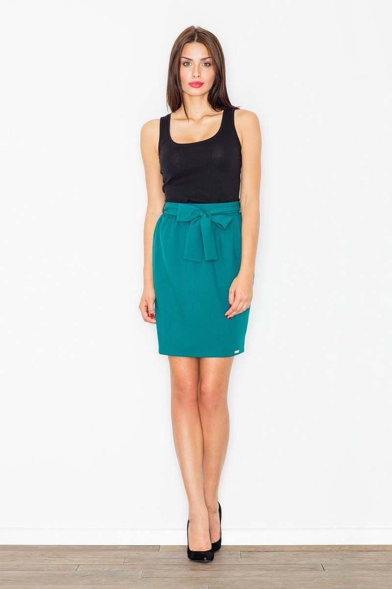 Lazurowa spódnica krótka ołówkowa z wiązaną szarfą