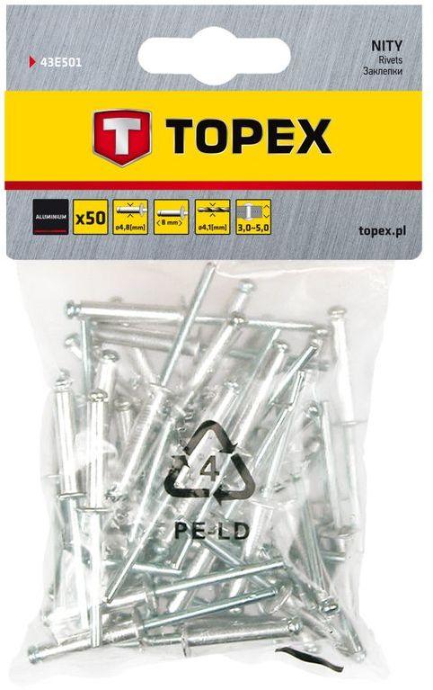 Nity aluminiowe 4.8 mmx8.0 mm 50 szt. 43E501