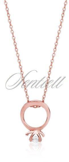 Srebrny naszyjnik pr.925 z zawieszką pierścionkiem - różowe złoto