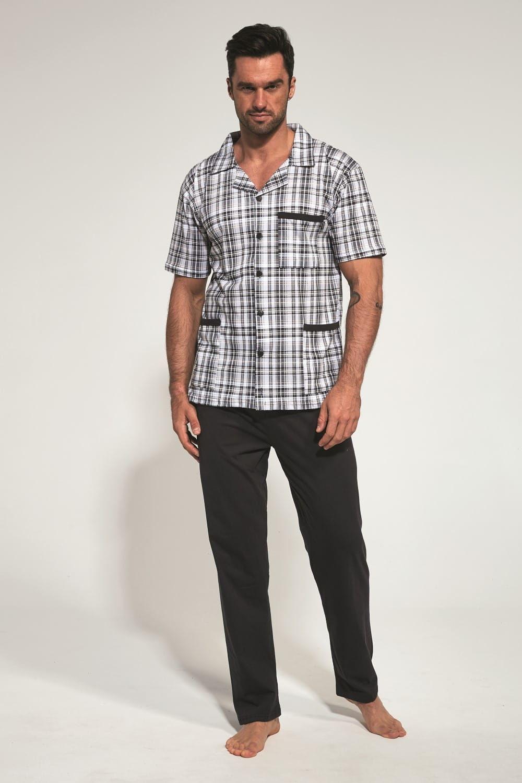 Rozpinana bawełniana piżama męska Cornette 318/37 grafitowa