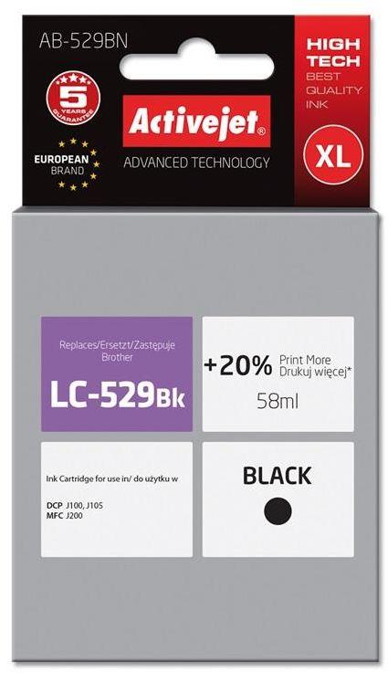 Tusz Activejet AB-529BN (zamiennik Brother LC529BK; Supreme; 58 ml; czarny)