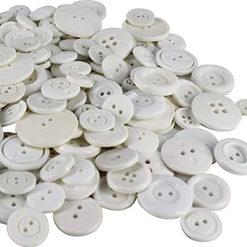 Weddecor Plastikowe guziki, płaskie białe - 100 g, 100 g