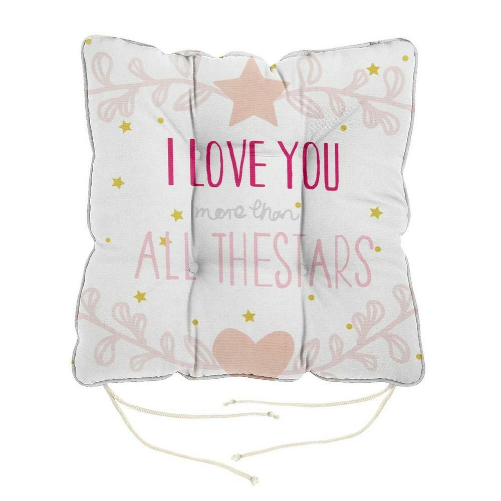 Poduszka siedzisko 40x40x8 Heart 5 biała różowa pudrowa I love you napisy na krzesło z wiązaniem dekoracyjna Eurofirany