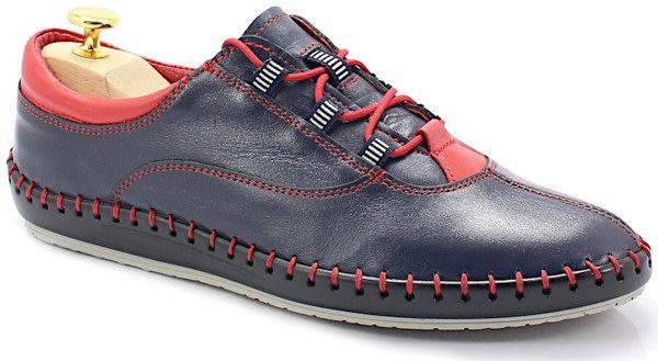 TYMOTEO 312 GRANAT - Miękkie buty ręcznie szyte - Granatowy