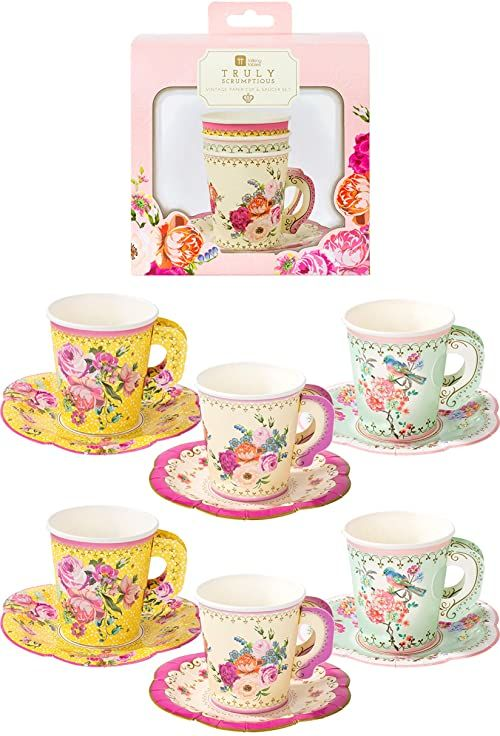 Talking Tables Zestaw 12 filiżanek i sosów Afternoon Vintage Floral Tea Set Truly Scrumptious for Birthday Party Wedding Baby Shower, Paper
