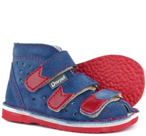 Daniel obuwie kapcie sandały profilaktyczne z obcasem Thomasa -jeans czerwony styrogum