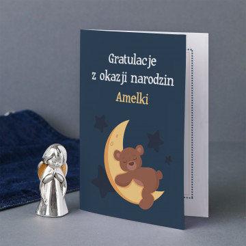 Gratulacje z okazji narodzin - Zestaw srebrny aniołek i kartka