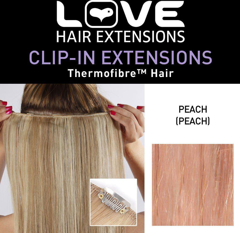 Love Hair Extensions Przedłużenie włosów Clip-In Silky Straight włókno termiczne 45 cm Peach
