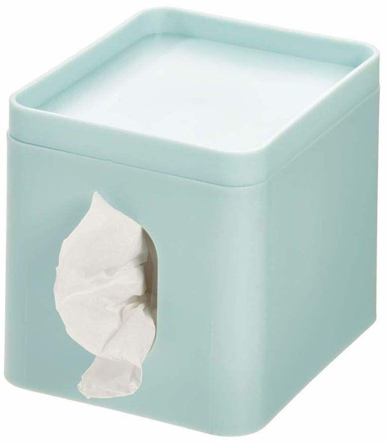 iDesign pokrowiec na pudełko na chusteczki na małe pudełko na chusteczki z tworzywa sztucznego, pokrowiec na pudełko chusteczek z tacą na biżuterię i makijaż, jasnoniebieski
