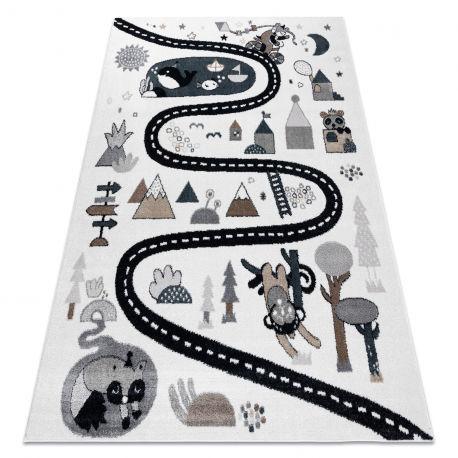 Dywan FUN Route dla dzieci, ulica, zwierzęta krem 120x170 cm