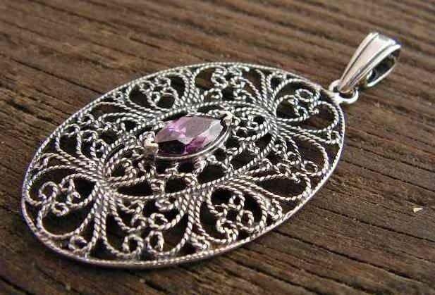 Athra - srebrny wisiorek z ametystem