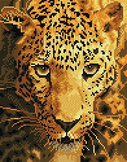 DD6-005 Diamond Dotz Jaguar, rozmiar ok. 27,5 x 35,5 cm, malowanie diamentami, błyszczący obraz do samodzielnego wykonania, dla dzieci i dorosłych
