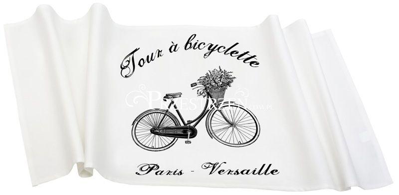 BIEŻNIK OZDOBNY FRENCH HOME - Bicyclette BIAŁY