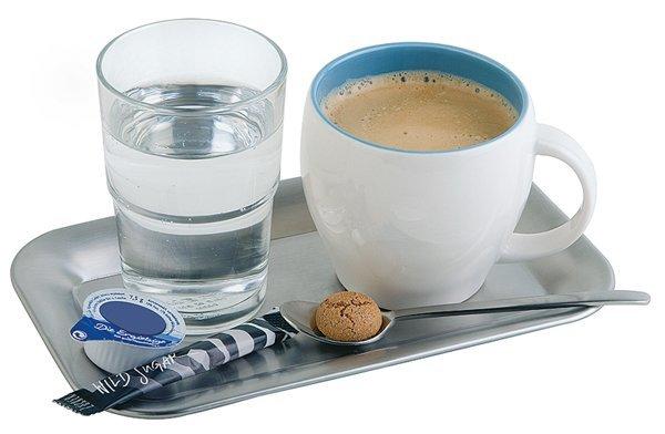 Taca prostokątna ze stali nierdzewnej do serwowania kawy 215x130mm
