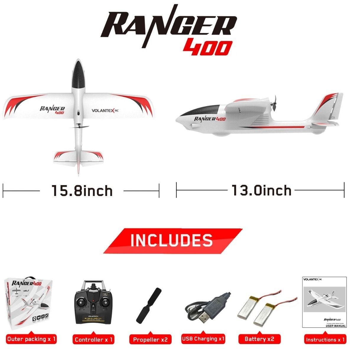 Volantex RC Ranger 400 Samolot z żyroskopem 761-6 RTF