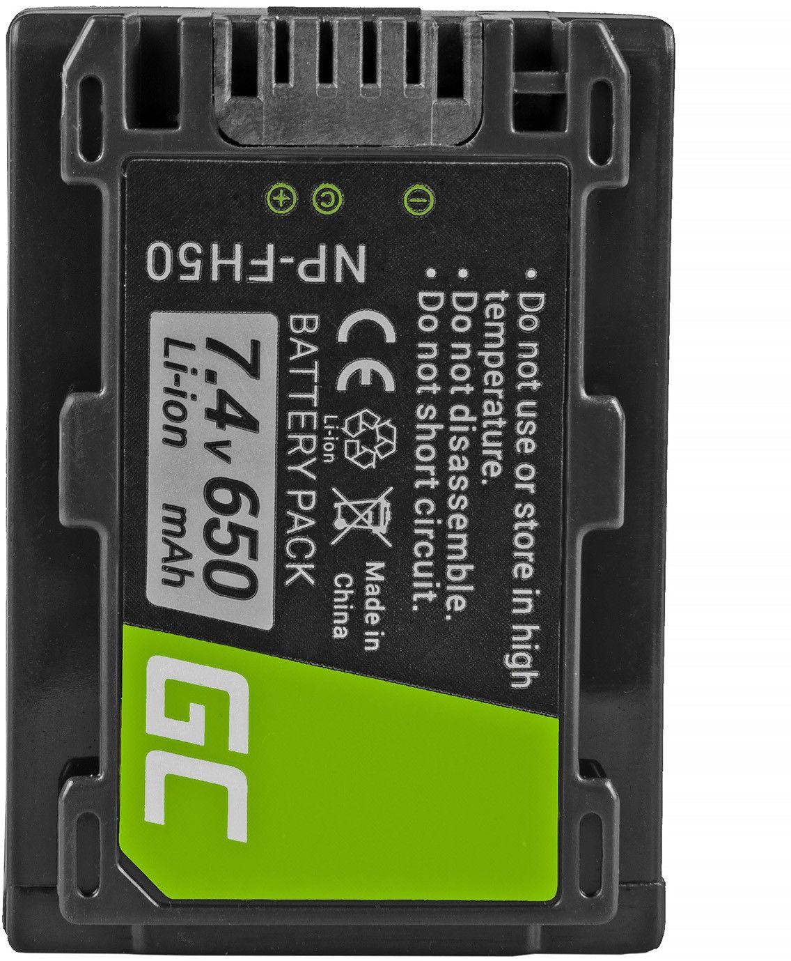 Akumulator Bateria Green Cell  NP-FH30 NP-FH40 NP-FH50 do Sony DCR HC22E HC24E HC42 SR36E SR37E SR100 DSC-HX200V 7.4V 650mAh