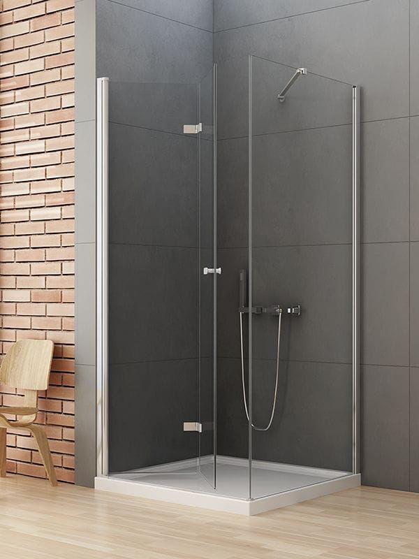 Kabina prysznicowa kwadratowa New Trendy Gold NEW SOLEO 70x70 Lewa, wys. 195 cm , szkło czyste 6mm D-0147A/D-0086B