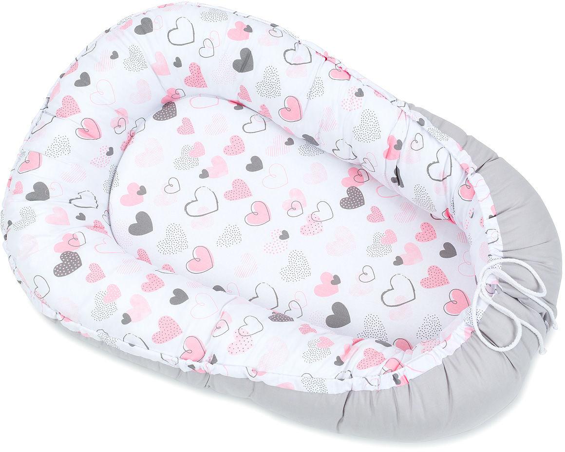 MAMO-TATO Kokon otulacz dla niemowląt DUŻY - Pastelowe serduszka / popiel