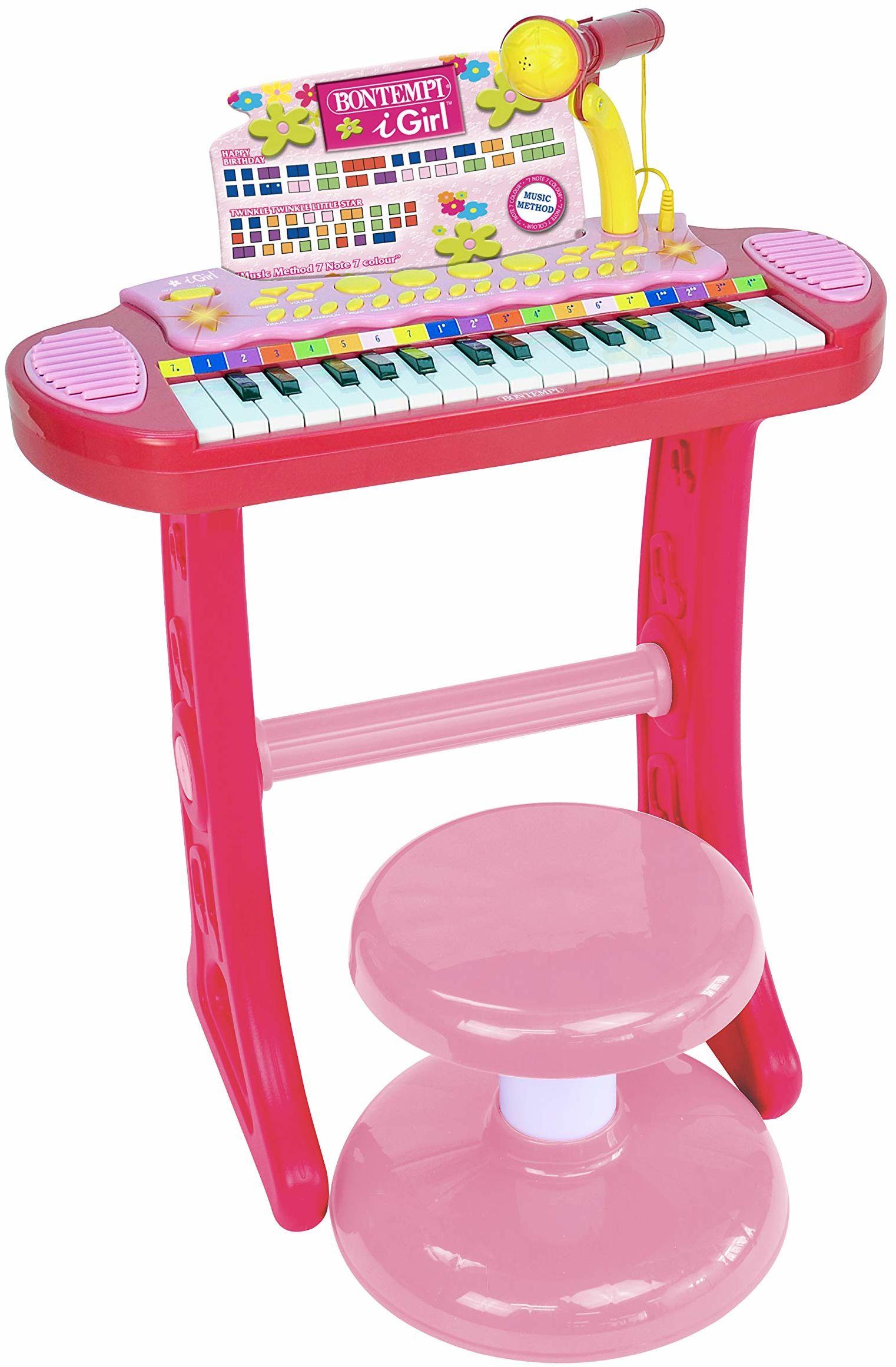 Bontempi 13 3671 elektroniczny keyboard z 31 przyciskami, w zestawie mikrofon i taboret