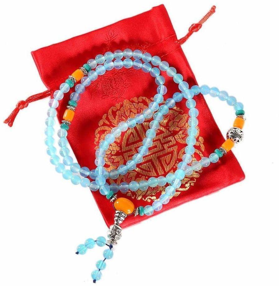 Buddyjska mala z niebieskiego agatu, 108 pereł, 6 mm, w zestawie satynowy woreczek