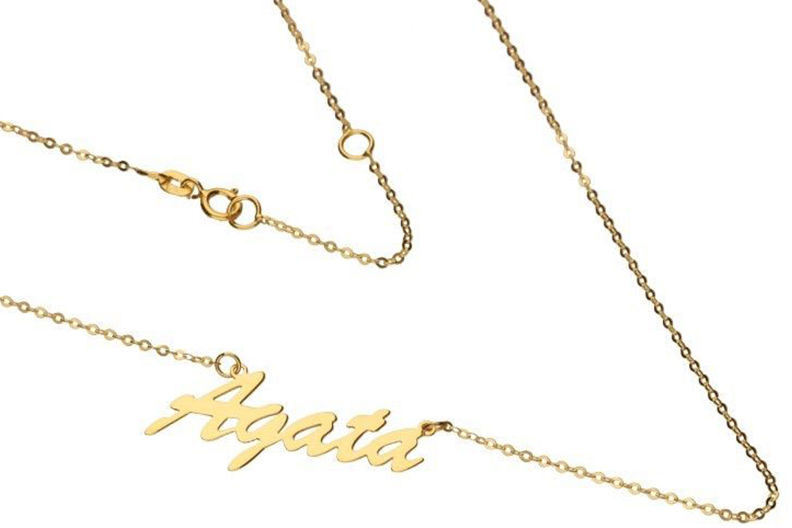 Złoty naszyjnik 333 z imieniem Agata 1g łańcuszkowy