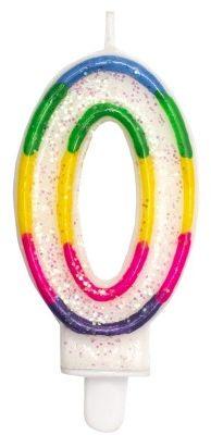 Świeczka na tort Tęczowa cyfra ''0''